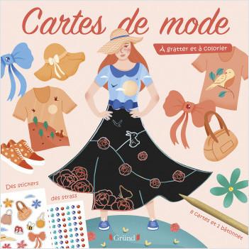 Ma pochette de mode – motifs du monde – Pochette avec 4 cartes à gratter et 4 cartes de coloriage, avec strass et stickers – Dès 6 ans