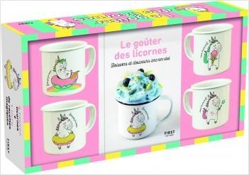 """Coffret Le goûter licorne : un livre de recettes + 4 tasses en émail """"licorne"""""""