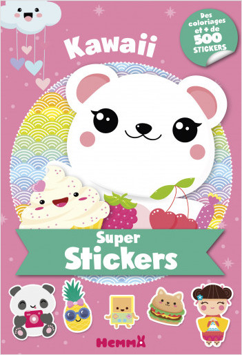 Super stickers – Kawaii – Bloc de plus de 500 stickers et 30 coloriages - dès 5 ans