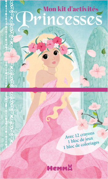 Mon kit d'activités – Princesses – Pochette avec 1 bloc de coloriages, 1 bloc d'activités et 12 crayons de couleurs – dès 5 ans
