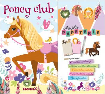 Ma jolie papeterie – Poney club – Pochette avec 1 bloc de coloriage, des mini blocs notes, des stickers et un stylo pailleté – dès 5 ans
